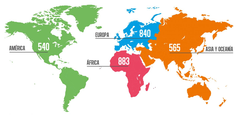 Mapa de programas de Aldeas en el mundo